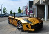 Jaguar F-Type wrapped in chrome gold
