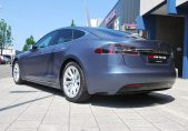 Tesla Model S Wrapped in Avery Satin Metallic Grey Blue