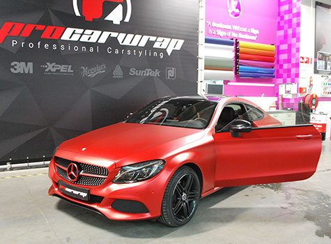 Mercedes C-Coupé AMG Full Carwrap in Apa Super Candy Red and more