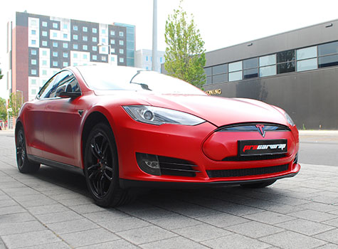 Tesla model S Full carwrap in 3M 1080 Satin Smoldering Red and many more!
