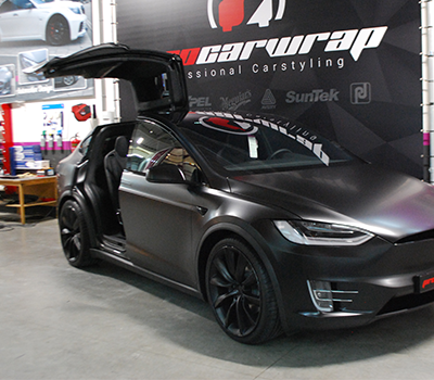 tesla model x full body wrap in 3m1080 satin black